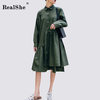 RealShe Fashion Summer Woman Solid Dress Women Long Sleeve Ruffles Pleated Patchwork Dresses Ladies Casual Dress Vestidos
