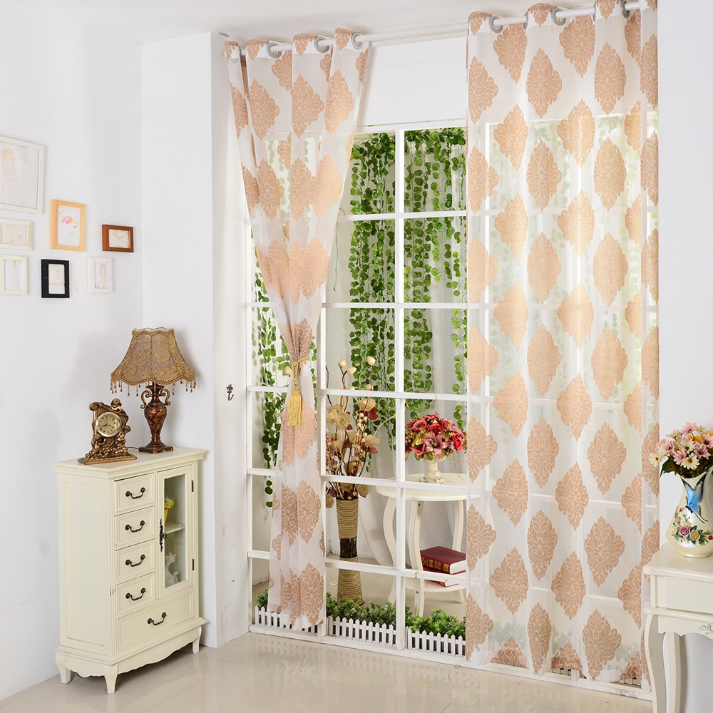 European Style Luxury Window Curtain Printed Tulle Fabric For Curtains Living Room Sheer