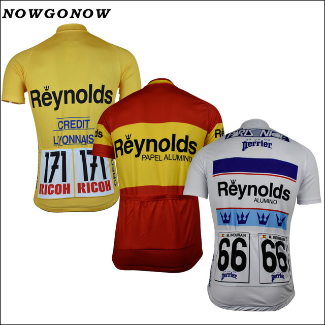 NOWGONOW 2017 Cycling Jersey Retro men yellow white red pro team Clothing  Bike Wear MTB road top Maillot 3 style summer with NO. 4f14e7512