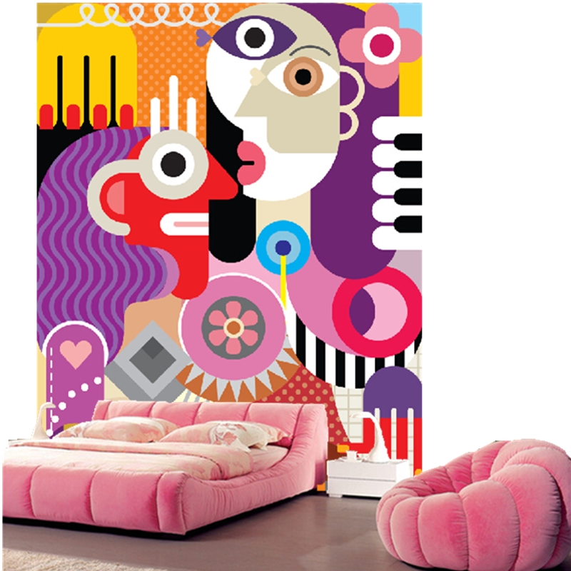 Custom vintage wallpaper, cartoon abstract figure for the living ...
