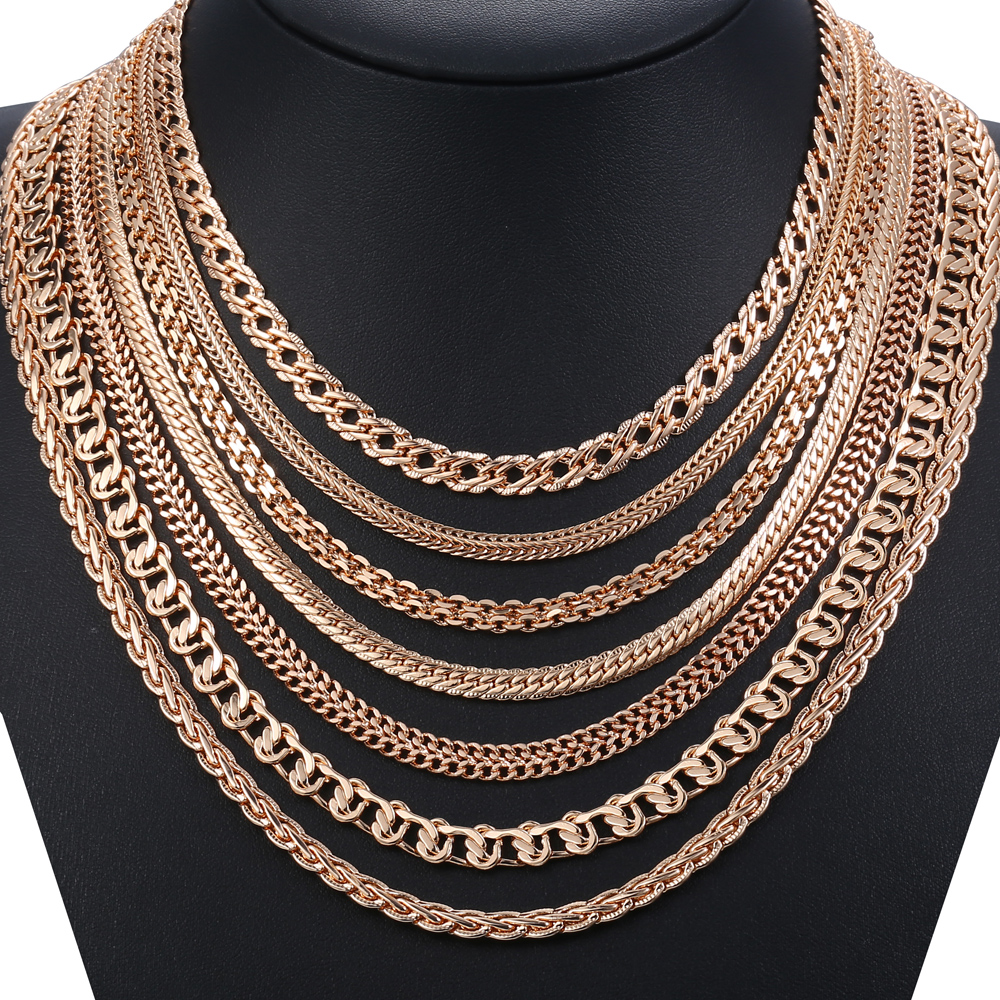 Personalize Necklace For Women Men 585 Rose Gold Venitian Curb Snail Foxtail Link Chains Necklace Fashion Jewelry 50cm 60cm CNN1 3