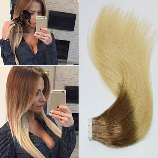 Ombre Remy Tape In Human Hair Extensions 20 40pcs Dark Bleach Blonde