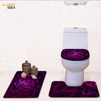 HUGSIDEA Flower Printed Toilet Seat Cover Colorful Flora Designer Closestool Lid Cover Shower Area Rugs Bathroom Accessories Set