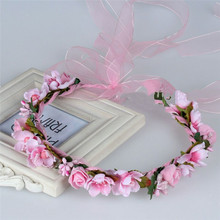 HIYONG Romantic Floral Crown Wedding Headband For Girl Flower Wreath Accessories