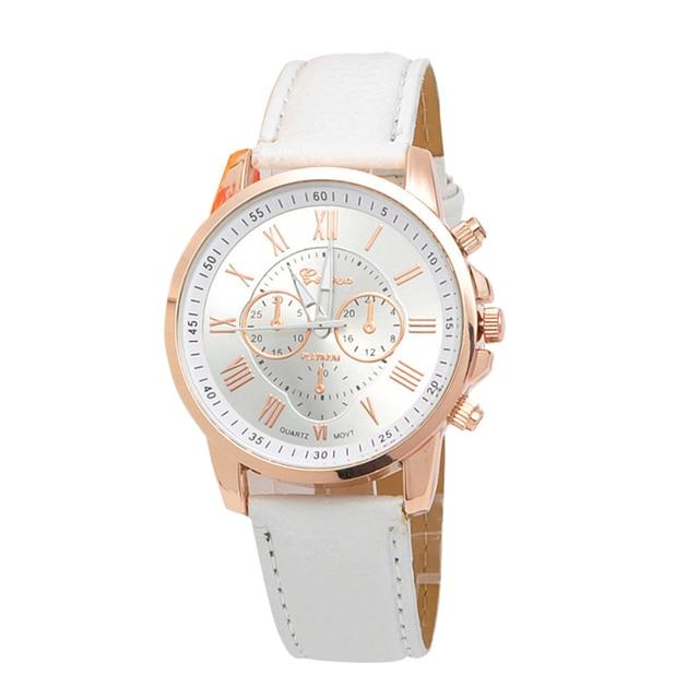 Fashion Geneva Watches Women Roman Numeral Quartz Wristwatch Casual Leather Brac