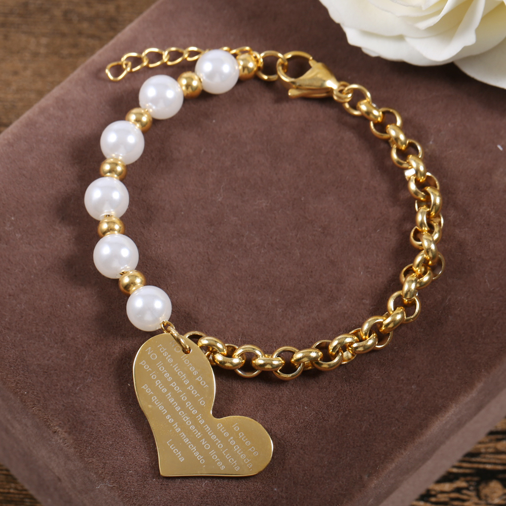 TL Stainless Steel Charm Bracelets Shell Pearl Beads Gold Chain Big Crooked Heart Love Bracelet For Women Fashion Party Jewelry