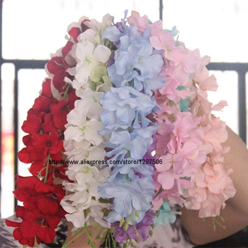 10 STKS, Lengte / 33 CM hortensia kunstzijde bloemen, planten - Feestversiering en feestartikelen
