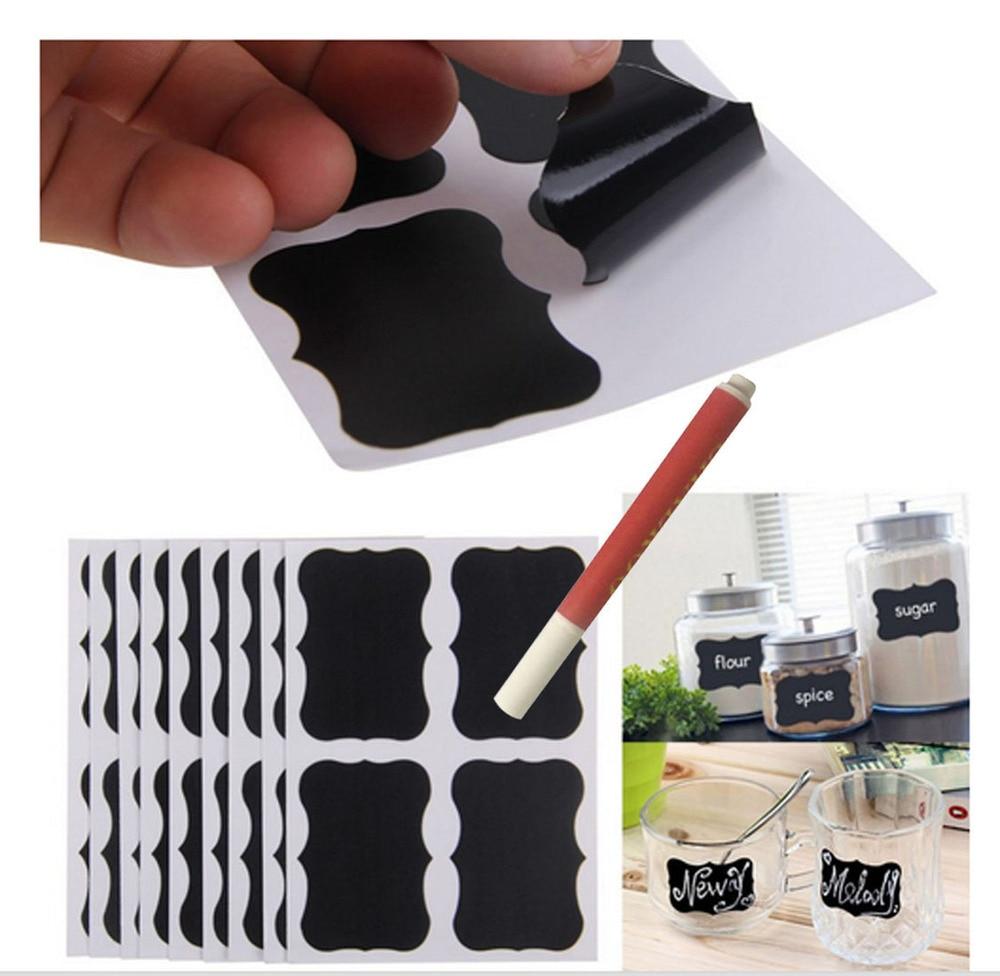 80pcs/lot Blackboard Sticker With 1 Liquid Chalk Marker Pantry Craft Jars Organizer Labels 50mm X 35mm Chalkboard Stickers