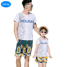 iairay summer 2018 family clothing father son matching clothes holiday casual white t shirt print t-shirt cotton men short pants