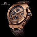 DIDUN mens watches top brand luxury Men Sport Quartz Watch Steel Military Wristwatch Leather strap Watch  Chronograph Stopwatch