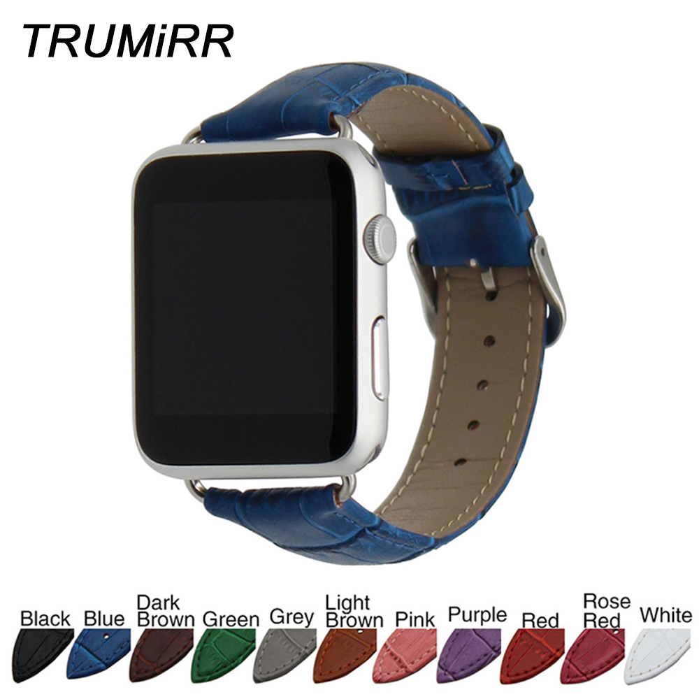 все цены на Calf Genuine Leather Watchband Croco Strap for 38mm 42mm iWatch Apple Watch Band Wrist Belt Bracelet with Connectors Multi Color онлайн