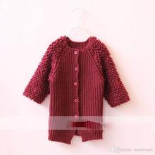 New Kids Girls Knitted Sweater Cardigans Long Design Fleece Candy Color Fall Winter Jackets Outwears 5Pcs/Lot