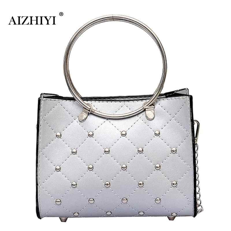 0e2c3e9079bd Women Fashion Mini Leather Handbags Casual Small Round Ring Handle  Crossbody Bags Black White Silver Rivets