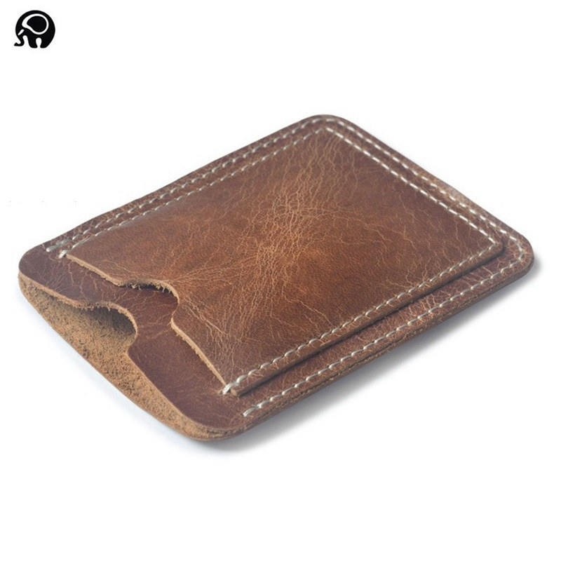Card Holder 100/% Real Leather Pocket Wallet Wallet Organizer Black