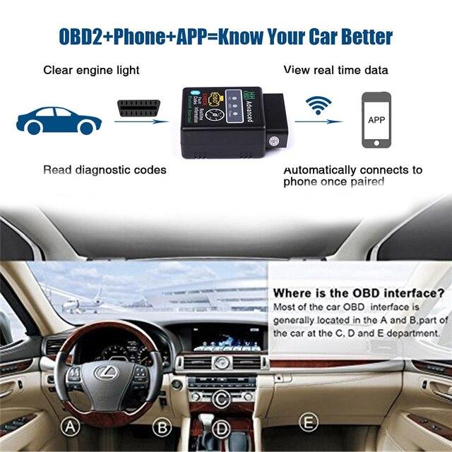 HH OBD ELM327 Bluetooth OBD2 can bus obdii Check Engine Voiture Scanner Diagnostique Automatique Outil Adaptateur D'interface Pour Android PC 5