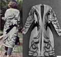 Moda de invierno nuevo estilo mezcla de pelo de conejo de punto Cardigans impreso elegante Jumper Sweaters espesar abrigo prendas de punto largo mujeres
