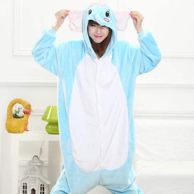 2016 Elefantes animales Lindos de la Historieta de Franela Otoño e invierno Pijamas para mujeres adultos de manga Larga pijama