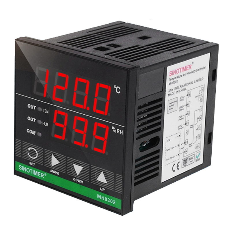 Digital Temperature and Humidity Controller Relay Output Power 110V 220V AC 3m Sensor for Heat Cool Humidification or Dehumidify elitech digital temperature thermostat 2 relay output control