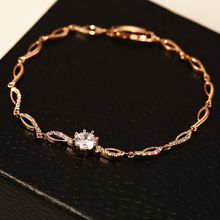 Фотография 2017 Hot Fashion Luxury Rose Gold Color Bracelets  Chain Link Bracelet for Women Crystal From Shining AAA Cubic Zircon Crystal