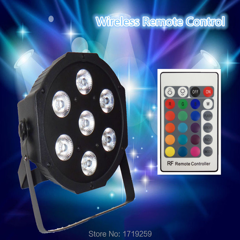 Wireless Remote Control  LED The brightest Led Flat Par 7x12W RGBW 4IN1 8 dmx Channels Fast Shipping  4pcs lot the brightest 4 8 dmx channels led flat par 18x12w rgbw 4in1 led par can light with power in power out