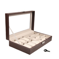 2 In 1 Brown Colour 6 Grids+3 Grid PU Leather Watch Case Storage Organizer Box Fashion Sunglasses Display Watch Boxes 33*20*8cm