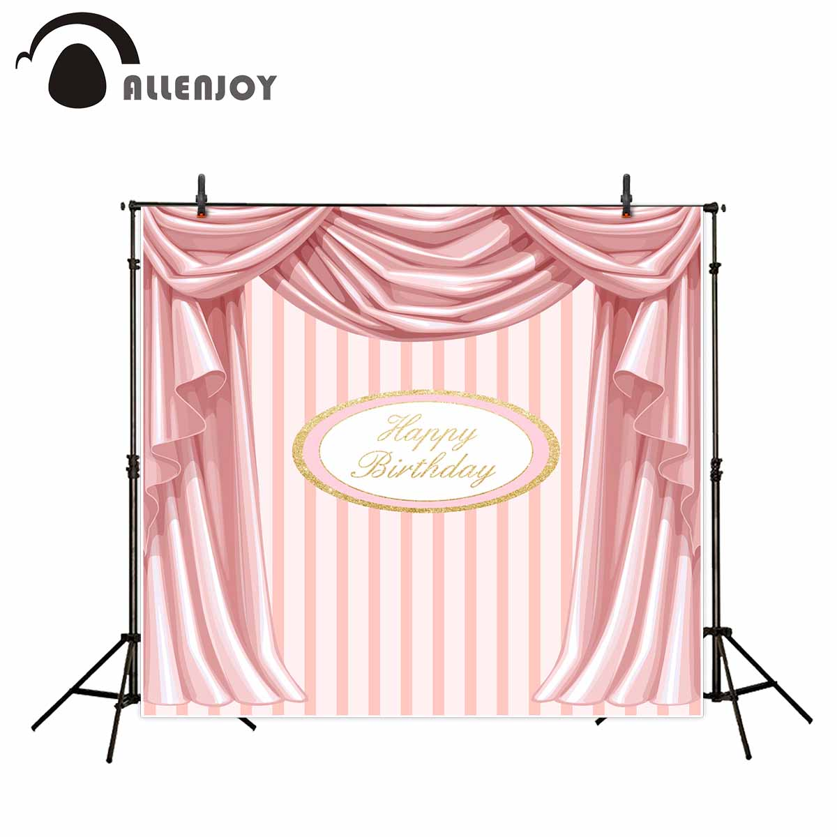 Allenjoy photography backdrops Pink curtains Stripes birthday background Customize photo booth For a photo shoot vinyl backdrops allenjoy backdrops baby shower background pink stripe rose gold circle birthday invitation celebration party customize