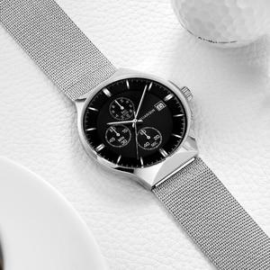 Image 3 - 2018 新 GUANQIN トップブランドの高級メンズビジネスクロノグラフメッシュストラップ時計メンズファッションフルスチールクォーツ手首時計