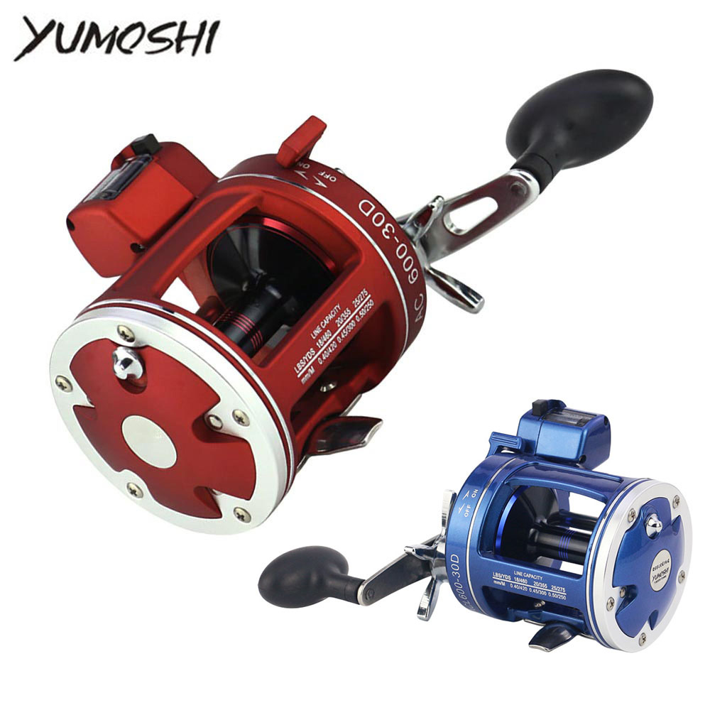 YUMOSHI Fishing Reel 12BB Depth Counter Left Right Hand Saltwater Freshwater Baitcasting Brake System Multiplier Body