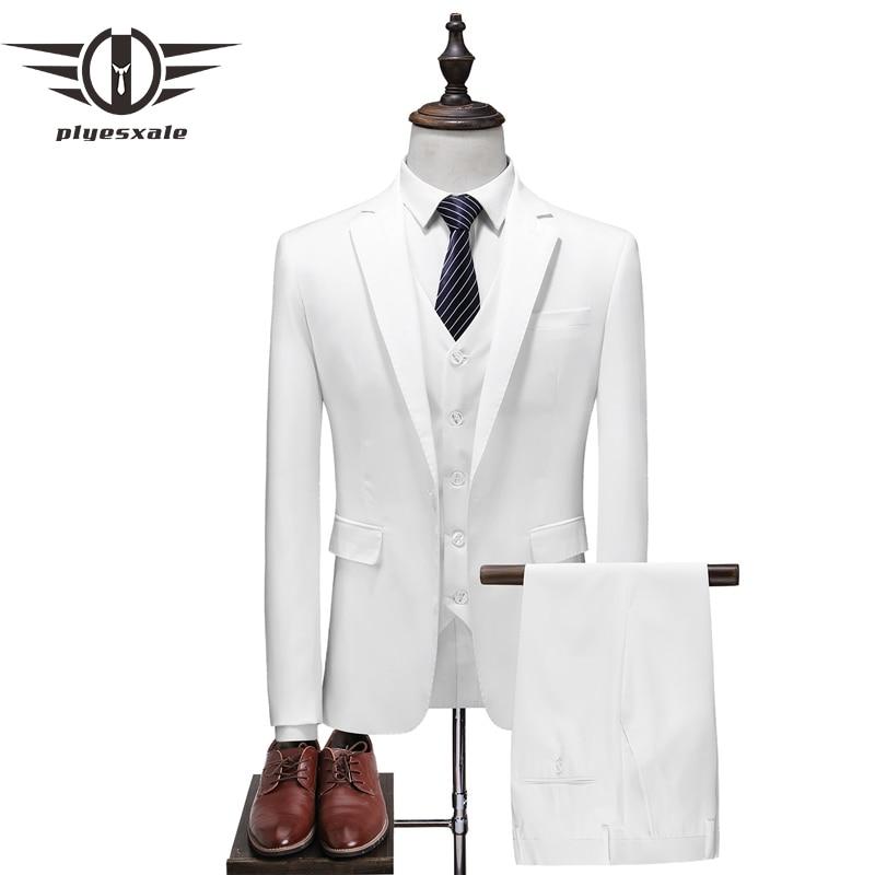 Hot Sale Plyesxale Brand 3 Piece Suits Men Slim Fit Black Blue White