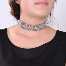 Hot  Boho Collar Choker Silver Necklace statement jewelry for womenFashion Vintage Ethnic style Bohemia Turquoise Beads  neck