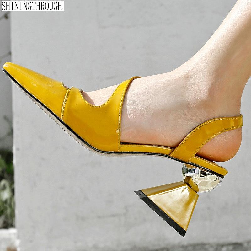간결한 진짜 가죽 여성 샌들 이상한 스타일 하이힐 여성 여름 신발 패션 버클 캐주얼 여성 데일리 신발-에서하이힐부터 신발 의  그룹 1