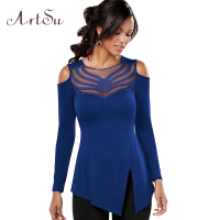 ArtSu Women Off Shoulder Sexy Blouse Mesh Stitching O Neck Long Sleeve Shirts Split Irregular Hem