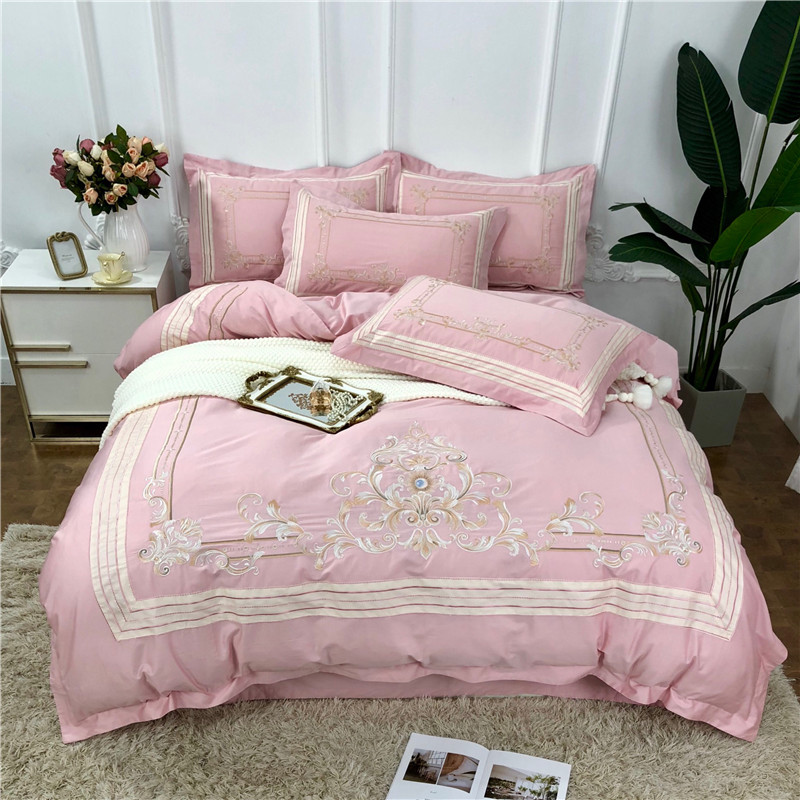 Pink Blue Luxury Royal Embroidery 60S Egyptian cotton Queen King Size 4pcs Bedding Set Duvet Cover Bed Sheet/Linen PillowcasesPink Blue Luxury Royal Embroidery 60S Egyptian cotton Queen King Size 4pcs Bedding Set Duvet Cover Bed Sheet/Linen Pillowcases