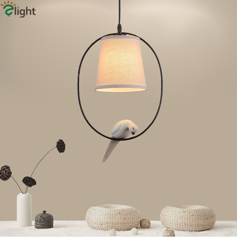 Nordic 3D Resin Bird Led Pendant Light Linen Fabric Shades Europe Minimalism Suspended Lamp For Dining Room BedroomNordic 3D Resin Bird Led Pendant Light Linen Fabric Shades Europe Minimalism Suspended Lamp For Dining Room Bedroom