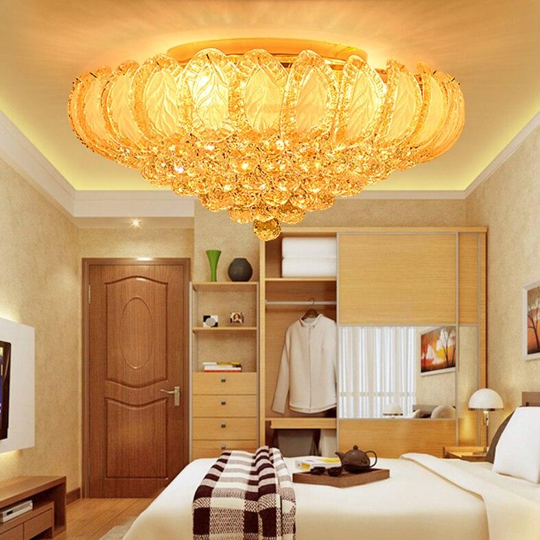 Luzes de Teto de cristal Luz de Teto Para Casa Iluminação Interior Luminária LED Moderno Ouro Lustres Sala de Jantar Bed Room Hall Do Hotel Lâmpadas