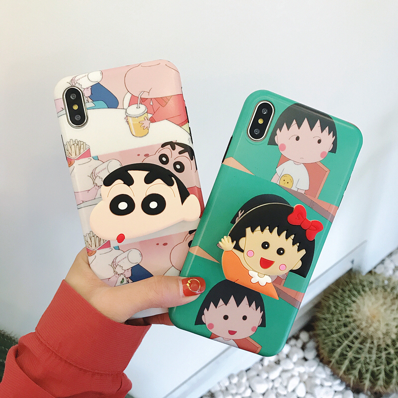 3D Crayon Shin-chan Chi-bi Maruko Air Bag Cell Phone Bracket IMD Case For iPhone  XS XR XS MAX Case For iPhone X 6 6S 7 8 Plus 8177d3620f7d