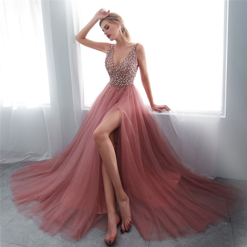 Women Elegant V Neck Beading Dress Ladies Sexy Back Lace Up Party Dress With Slit Female