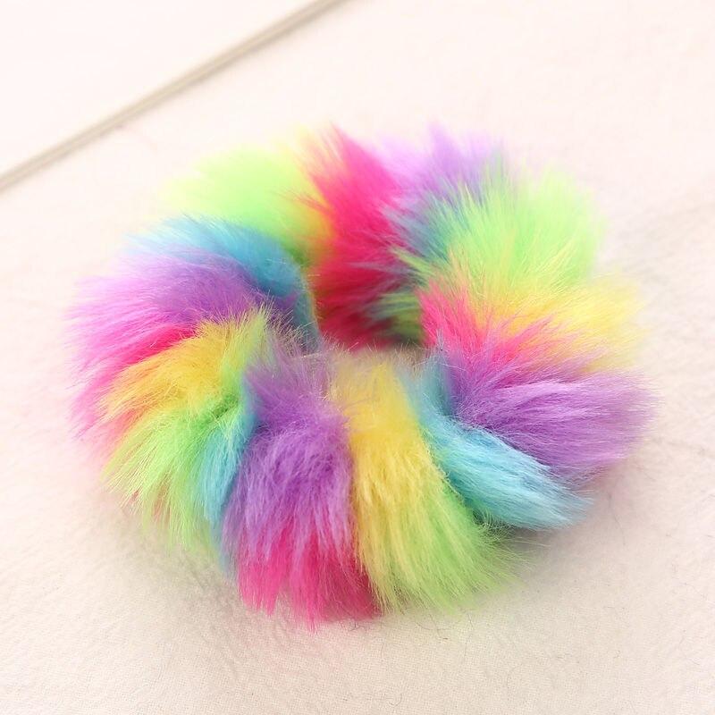 AIKELINA/Новинка; зимняя теплая мягкая резинка для волос из искусственного кроличьего меха для девочек и женщин; аксессуары для волос; Детская резинка; головной убор - Цвет: Colorful