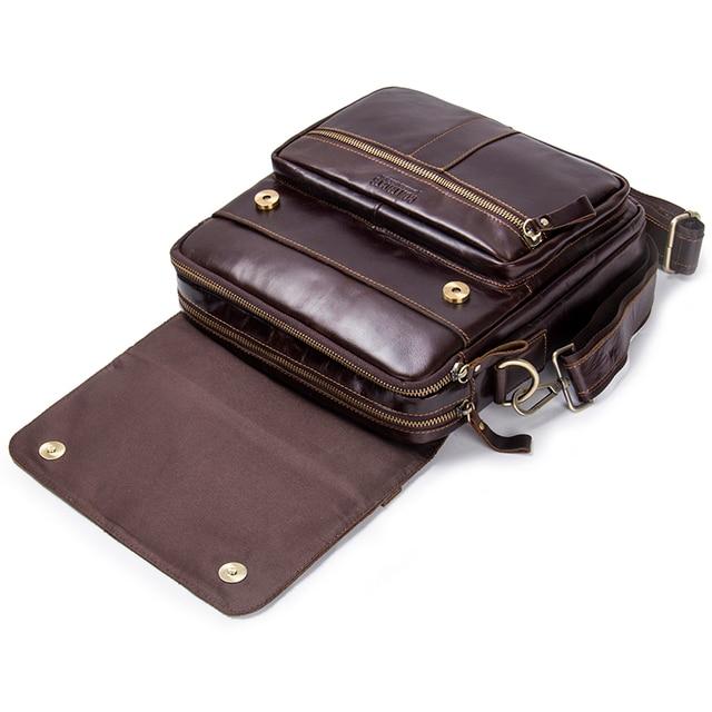 CONTACT'S Brand Design Genuine Leather Shoulder Bag Men Crossbody Messenger Bags Vintage Men's Handbag Bolsos Male For 9.7 2