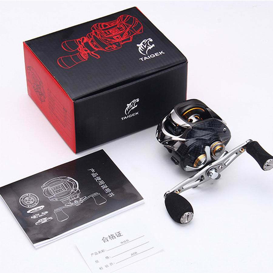 Taigek Lure Fishing Reel Carbon Fiber 18+1 Bearings 9 Centrifugal 10 Magnetic Brake Grades 216.7g 7.0:1 0.30mm*140M 10Kgs Force