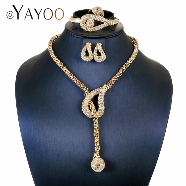 AYAYOO African Beads Jewelry Set Nigerian Wedding Gold Color Long Necklace Jewel