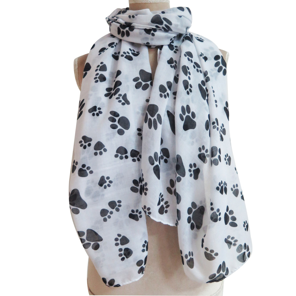 10pcs/lot Cute Cat Dog Animal Paw Footprint Printed Scarf Shawl Wrap Soft Lightweight Large Size