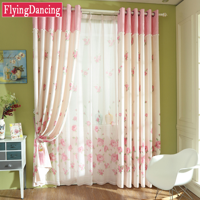 Beautiful Pastoral Pink Floral Curtains For Kids Living Room Child Bedroom Princess  Sheer Curtains For Baby Room
