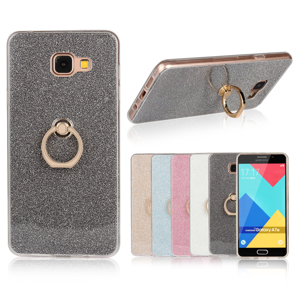 Case for Samsung Galaxy A710 Flash powder Case for Samsung A710 2016 SM-A7100 A7108 A710F/M/FD/Y/K/L/S Finger buckle Phone bag