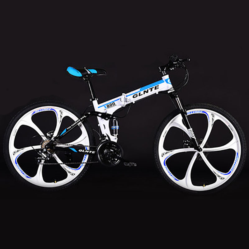 Folding Mountain Bike 26 Inch Double Suspension System Non-slip Six-cutter Wheel