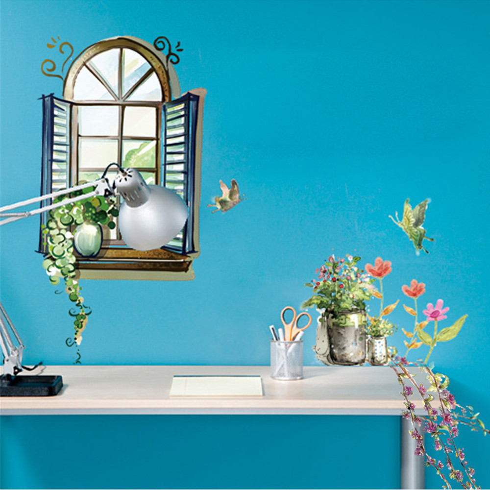 2019 DIY Window View Removable False window view Wall Decal Family Art sofa TV background Sticker Home Decor
