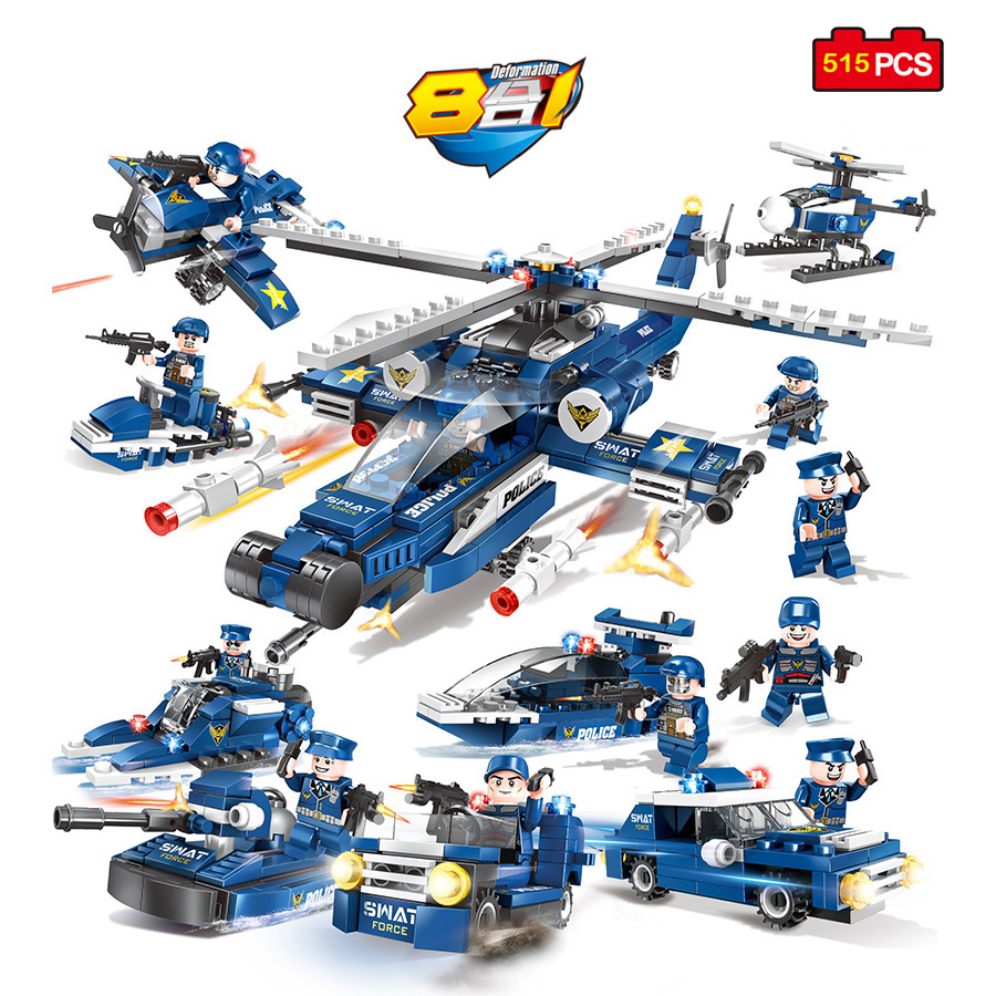515pcs Swat Police Team Helicopter Boat Car Model Building Blocks Compatible Legoed Military Army Weapon Bricks Toys Child Gifts military modern swat figure single sale police with shield gun weapon bricks building blocks set model toys for children
