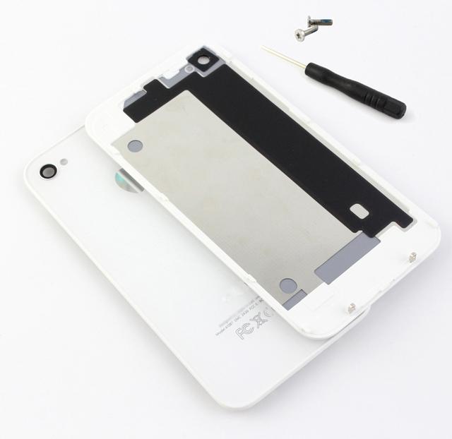 10 pçs/lote black & whiteoem bateria capa para iphone 4 4s tampa traseira porta do painel traseiro placa de vidro de substituição de habitação