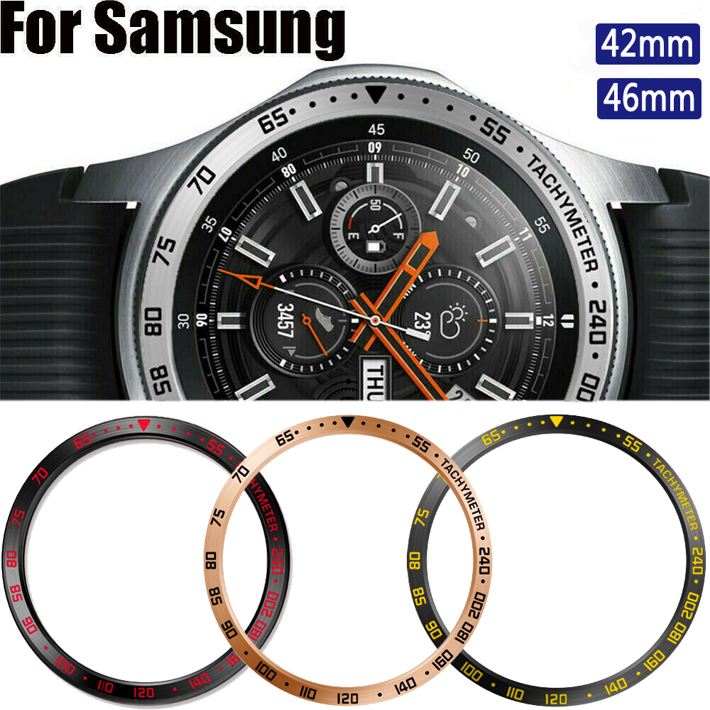 Metal Bezel For Samsung Galaxy Watch 46mm/42mm Case Gear S3 Frontier/Classic sport Adhesive Cover band strap Accessories 46/42