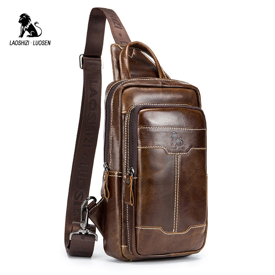 LAOSHIZI LUOSEN Genuine Leather Chest Bag Men's Crossbody Bag Chest Pack Man Shoulder Messenger Bag Small Handbag Cowhide 2018 laoshizi luosen genuine leather chest bag for men messenger bags vintage crossbody sling bag man shoulder bag small chest pack